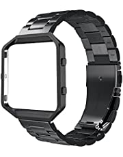 Simpeak Compatible with Fit bit Blaze Band Frame, Replacement Stainless Steel Band with Metal Frame Compatible with Fit bit Blaze Smart Fitness Watch (with Link Removal Tool), Black