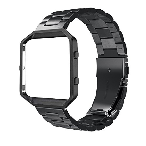 Simpeak Fitbit Blaze Band Frame, Replacement Stainless Steel Band with Metal Frame for Fit bit Blaze Smart Fitness Watch ( Match Link Removal Tool), - Metal Blaze