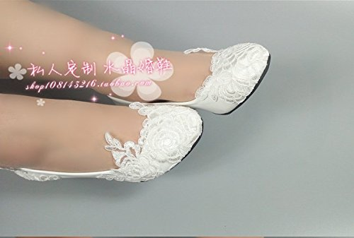 Round Lace White Performance Dress Toast Shoes Sandals Wedding 9 Prom Slope Female Single VIVIOO Shoes Bridesmaids Bride 5 High Wedding and Ball Heel EqtOxp