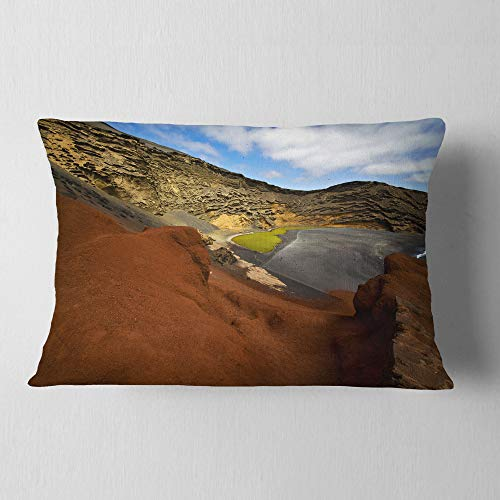 Designart CU10741-12-20 in El Golfo Lanzarote Spain Musk Pond' Seashore Throw Lumbar Cushion Pillow Cover for Living Room, Sofa, 12 in. x 20 in, Pillow Insert + Cushion Cover Printed on Both Side by Designart