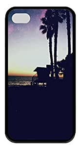 iPhone 4 4s Case, iPhone 4 4s Cases - Landscapes Beach 6 TPU Polycarbonate Hard Case Back Cover for iPhone 4 4s¨CBlack