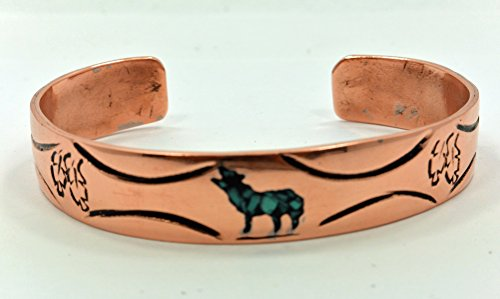 All Tribe Silver Navajo Native American Jewelry Handmade Copper Bracelet Turquoise Inlay Wolf