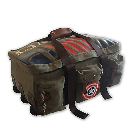 Captain America Vintage Military Duffel Bag Made of Rugged Cotton Canvas Mounted on Wheels with Exterior Zip Pockets, Carry Straps with Double-Snap Tab, Detailed with Captain America Patch