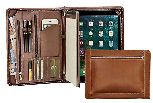 [Custom Engraved]Vintage Crazy-Horse Leather Portfolio, Handmade Padfolio Case Business Zippered Organizer Document Folder with Letter Size Notepad