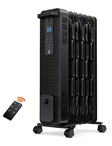 Space Heater, TaoTronics 1500W Oil Filled Radiator Heaters with 3 Heating Mode, 24-Hrs Timer for Auto-On & Off, Remote…
