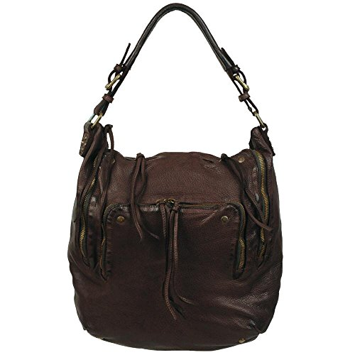 Wilsons Leather Womens Vintage Washed Leather Hobo W/ Zipper Detail Brown (Washed Hobo Leather)