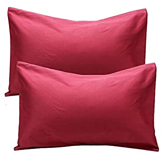 UOMNY Toddler Pillowcases 2 Pack 100% Cotton Pillow Cover Mini Sized 14x20 Baby Ultra Soft Pillow Cases for Sleeping Tiny Pillows case for Travel Pillowcases Dark Red Kids' Pillowcases