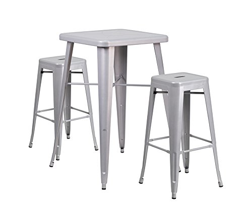 Bar Table W/2 Stools - Offex Indoor Outdoor Metal Bar Table Set with 2 Backless Barstools - Silver