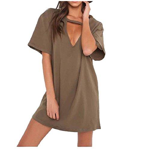 Manches À Court Creux Des Femmes Coolred Style De Base Mini Robe Verte De L'armée