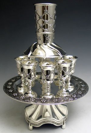 Quilted Style Silver Plated Kiddush Wine Fountain, 8 Cups