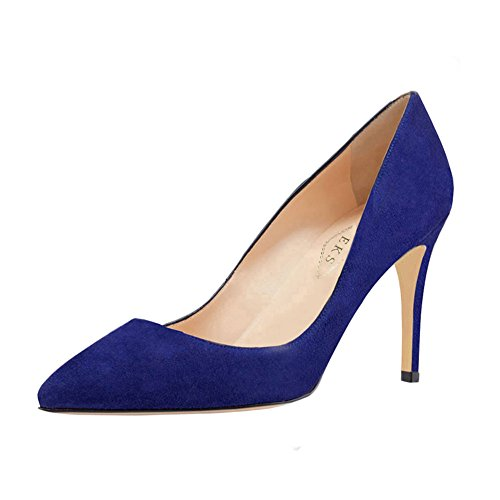 EKS Women's Mid-Heel Classic Slip On Dress Pumps High Heels Shoes Blue-suede N7T2c