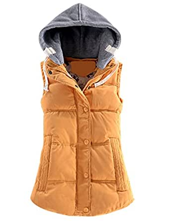 Yeokou Women's Slim Sleeveless Quilted Removable Hooded Winter Puffer Vest Coat - Yellow - X-Small