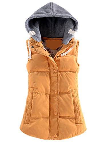 Yeokou Women's Slim Sleeveless Quilted Removable Hooded Winter Puffer Vest Coat (XX-Large, Yellow) ()