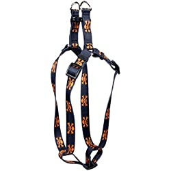 Yellow Dog Design Orange and Black Skulls Step-in Dog Harness, Small-3/4 Wide and fits Chest of 9 to 15""