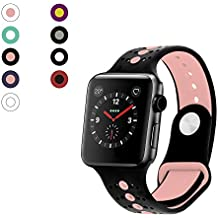 Rockvee Sport Apple Watch Band 38mm 42mm Women Men, Soft Silicone Apple Watch Band Strap Replacement Iwatch Band for Apple Watch Nike+, Series 3, Series 2, Series 1 (C# Black+Pink, 38mm)