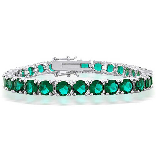 Bling Jewelry 18.5 CTW Teal Green CZ Tennis Bracelet for Women Simulated Emerald Round Cubic Zirconia Rhodium Plated Brass 8 Inch
