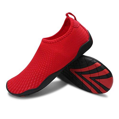 L-RUN Unisex Watschuhe Outdoor Mutifunktional Sport Atmungsaktives Mesh Casual Flat-Heels Punkt rot