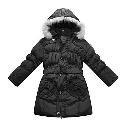 Richie House Girl's Black Padded Winter Jacket with Pockets, Belt and Fur Hood RH0785-D-7/8