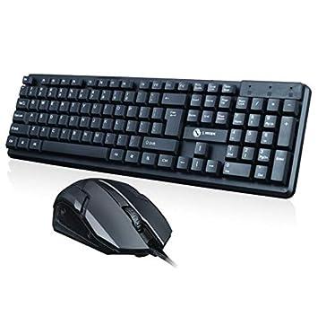 GAX Ratón Teclado Combo Silencioso 104 Tecla Ordenador PC Teclado USB Computadora Portátil De Escritorio Combinación De Mouse Y Teclado De Oficina: ...