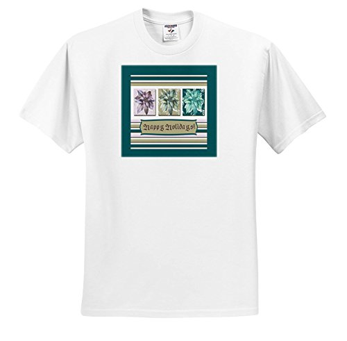 Happy Holidays Poinsettia (Beverly Turner Christmas Design - Poinsettias In Green, Lavender, and Lime, Frame, Happy Holidays - T-Shirts - White Infant Lap-Shoulder Tee (6M) (TS_267986_66))