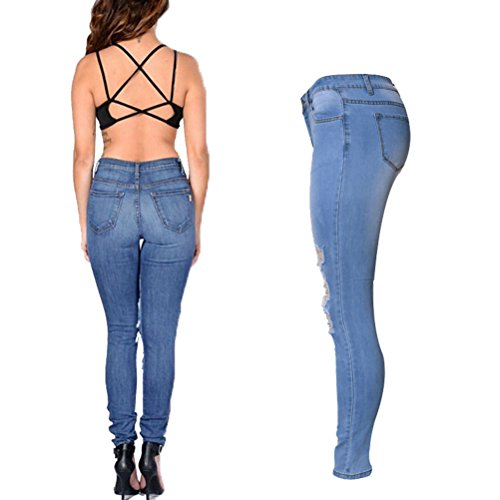 Laixing Buena Calidad Beautiful Womens Ripped Knee High Waisted Jeans Stretch Skinny Jeans WT002 Light Blue