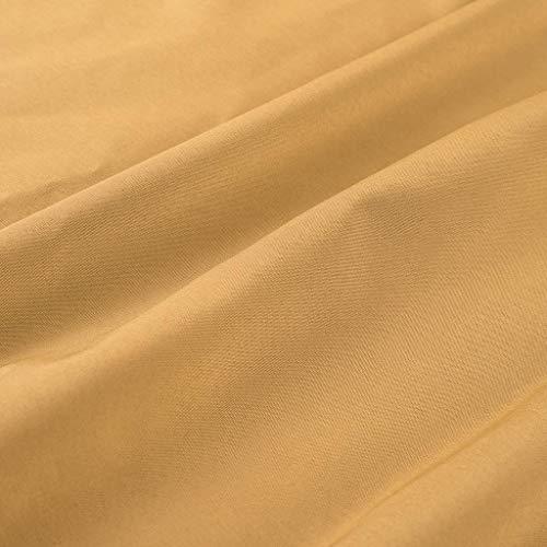 Camicia Lunga Solido Camicetta Uomo Bottoni Design Top Giallo Moda Casual Manica w4XqFHFB