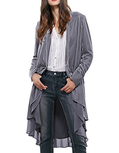 R.Vivimos Women Ruffled Asymmetric Long Velvet Blazers Coat Casual Jackets (Medium, Silver) (Velvet Womens Clothing)