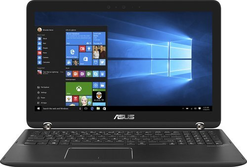 "Asus - Q524UQ-BHI7T15 2-in-1 15.6"" Touch-Screen Laptop - Intel Core i7-7500U - 12GB Memory - NVIDIA GeForce 940MX - 2TB Hard Drive - Sandblasted black aluminum with gunmetal hinge"