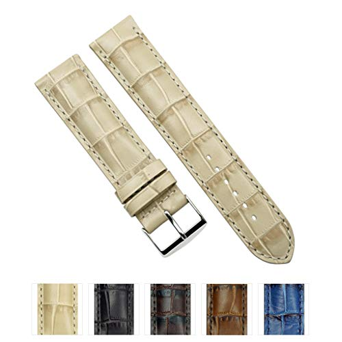 Genuine Leather Embossed Alligator Grain Heavy Padded Watchband - Choose Color & Width - (20mm, 22mm)