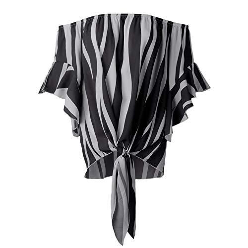 Women Blouse Summer Top Female Striped Slash Neck Off Shoulder Chiffon Blouses Casual Loose -