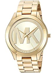 Michael Kors Womens Slim Runway Quartz Stainless Steel Casual Watch, Color:Gold-Toned (Model: MK3739)