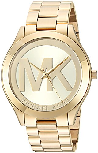Michael Kors Women's Slim Runway Quartz Watch with Stainless-Steel Strap, Gold, 20 (Model: MK3739) (Slim Runway Stainless Steel Watch)