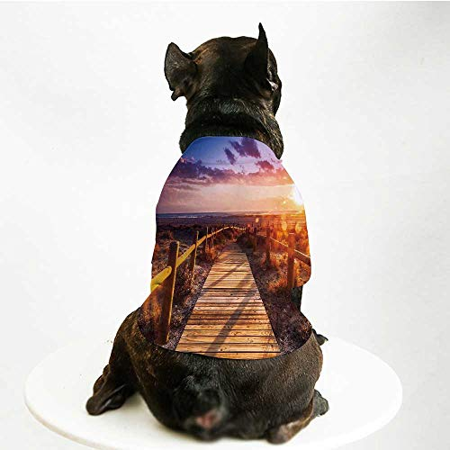 YOLIYANA Landscape Decor Comfortable Pet Suit,Sunset with Clouds in Cabo de Gata Nijar Natural Park Bridge Way with Fences for Teddy Chihuahua - Cabo Clothing