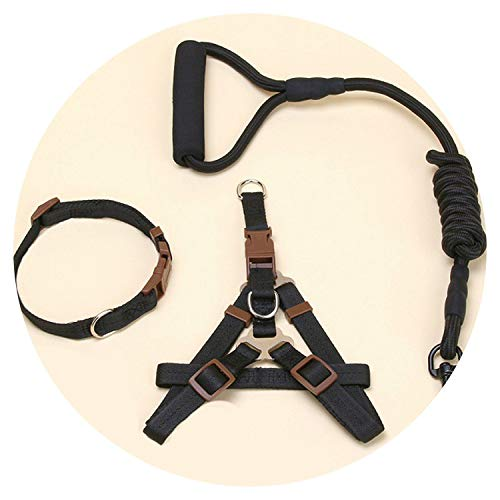 shine-hearty Dog Harness Leash Leads Dog-Collar Pet Accessories Puppy Vest Dog Harness Leash Black Set,S - Wolverine 8' Boot