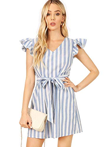 Milumia Women's Striped Self Tie Ruffle V Neck Colorblock Belted Dress