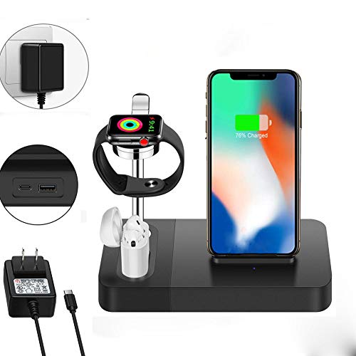 YUUDIS 3 in 1 Wireless Charger Stand Station,Compatible with Apple Watch Docking Station AirPods Charging Dock,Compatible with iPhone Xs/Xs Max/XR/X /8/8 Plus/iwatch 4/3/2/1(Adapter Included)