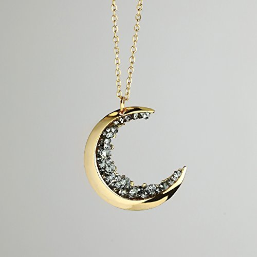 SAME DAY SHIPPING before 3 PM EST Dainty Jewelry Gold Crescent Moon Necklace Black Diamond Necklace Graduation Gift Mothers Day Gift For Her Celestial Jewelry - (Gold Mother)
