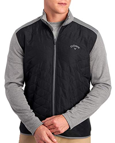 Callaway Quilted Full Zip Golf Jacket Medium Gray Heather Opti-Shield Size L from Callaway