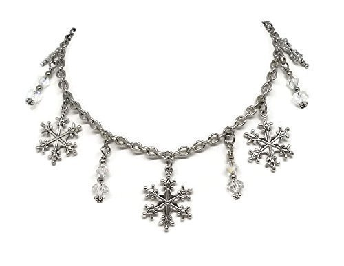 Winter themed Charm Necklace - Snowflakes and Swarovski Beads Jewelry