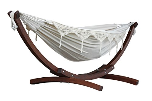 Vivere C8SPCT - Doble algodon hamaca con madera de pino maciza Arc funcion atril–Natural