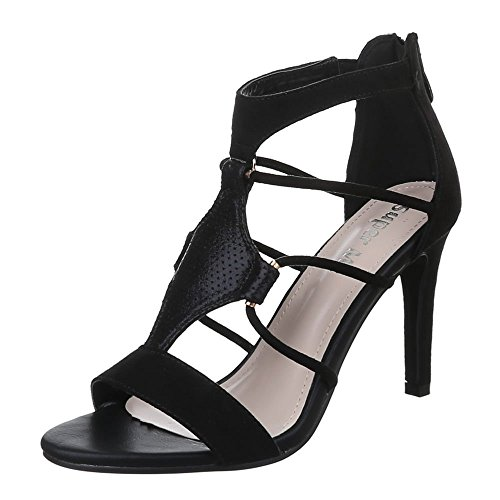 Ital-Design Damen Schuhe, 0-88, Sandaletten High Heels Pumps Schwarz