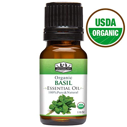 1 fl. Oz / 30 ml Organic Basil Essential Oil, USDA Certified Organic, 100% Pure, Natural, undiluted Therapeutic Grade, Refreshing Scent, Excellent for Aromatherapy