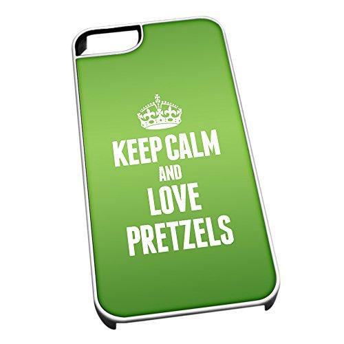 Bianco cover per iPhone 5/5S 1423verde Keep Calm and Love Pretzels