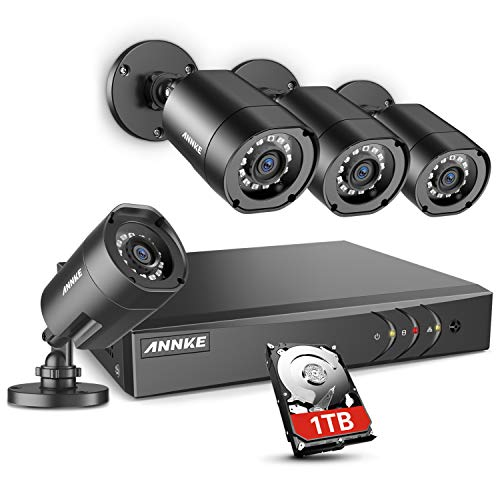 - ANNKE 8CH Security Camera System HD-TVI H.264+ Surveillance DVR Recorder with 4×1080P HD Indoor Outdoor Weatherproof CCTV Cameras, 1TB Hard Drive, Motion Alert, Remote Access