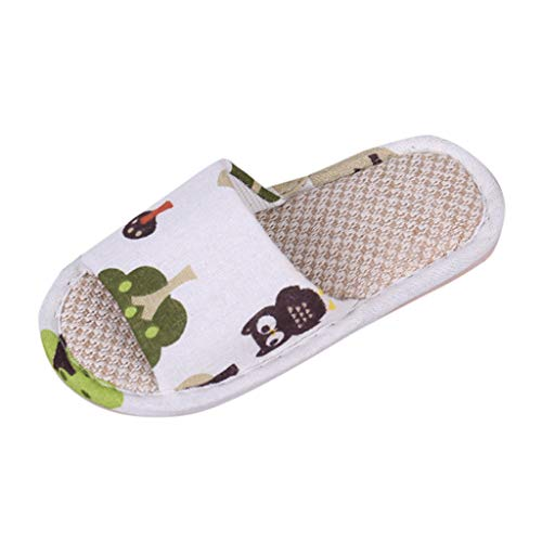 Randolly Baby ShoesToddler Infant Kids Girls Boys Unisex Cartoon Linen Slippers Animal Picture Breathable Shoes White