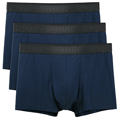 Separatec Men's 3 Pack Soft Modal Stylish Drop Needle Striped Trunks Underwear(S,Navy Blue) ()