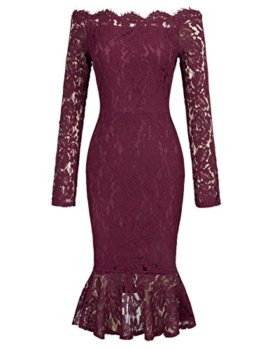 Boat Neckline Lace Overlay Evening Party Pencil Dress XL Wine Red 1 from GRACE KARIN