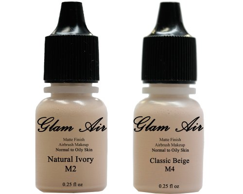 Airbrush Makeup Foundation Matte M2 Natural Ivory and M4 Classic Beige Water-based Makeup Long Lasting All Day Without Smearing Running, Fading or Caking 0.25 Oz Bottle By Glam Air