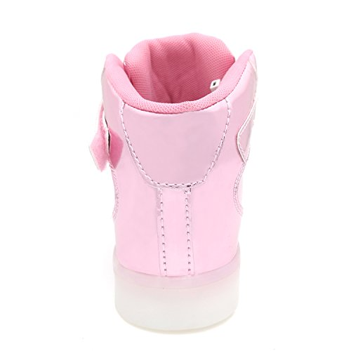 Pictures of APTESOL Flashing Rechargeable Fashion LED Sneakers Youth Kids Toddler Cute Shoes for Halloween Xmas School Party Birthday Best Gift (Pink Little Kid Size 11) 5