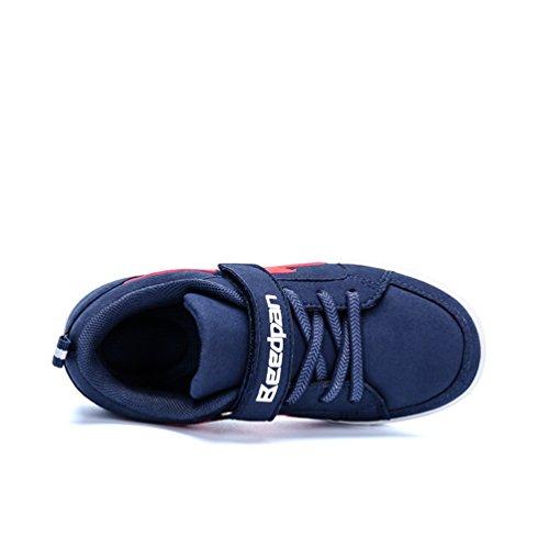 Dexuntong Niños Zapatillas de deporte Calzado infantil Zapatos casuales Antideslizante zapatillas para andar Sneakers Con velcro Azul